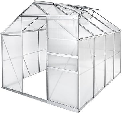 tectake serre de jardin et polycarbonate alu tente abri plante jardinage diverses modeles 250x185x195 cm sans base no 402476