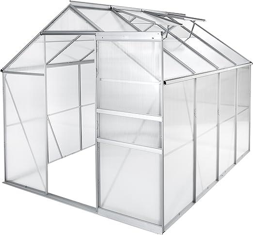TecTake Invernadero de jardín policarbonato Transparente Aluminio casero Plantas Cultivos - Varios Modelos - (250x185x195 cm | no. 402476): Amazon.es: Jardín
