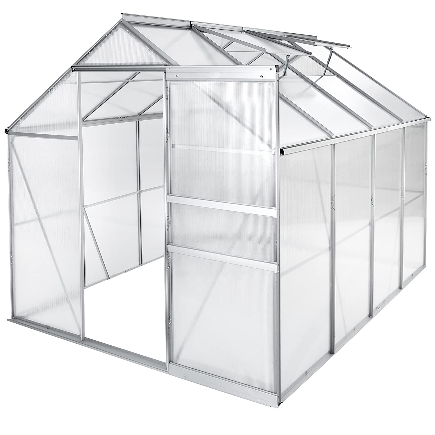 250x185x195cm   no. 402476 TecTake Greenhouse Polycarbonate Aluminium Growhouse with Window and Sliding Door Different Models (250x185x195cm   no. 402476)