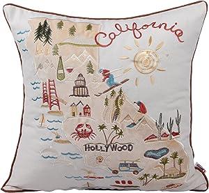 Queenie - 1 Pc City Scene Embroidery Cotton Linen Decorative Pillowcase Throw Pillow Case Cushion Cover 18 X 18 Inch (45 X 45 Cm) (City Map of California)