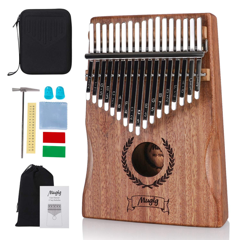 Kalimba 17 Keys, Mugig Portable Thumb Piano, Mahogany Wood Mbira Sanza with Case and Tune Hammer, Gifts for Kids Adults Beginners Professionals