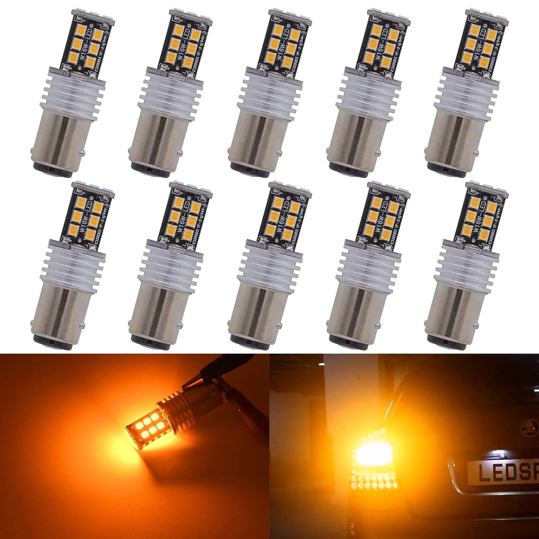 KaTur 10pcs High Power 800 Lumens Super Bright 1157 BAY15D 1196 1016 7528 LED 15SMD 2835 Backup Reverse Tail Brake Lights Parking LED Blubs DC 12V Amber
