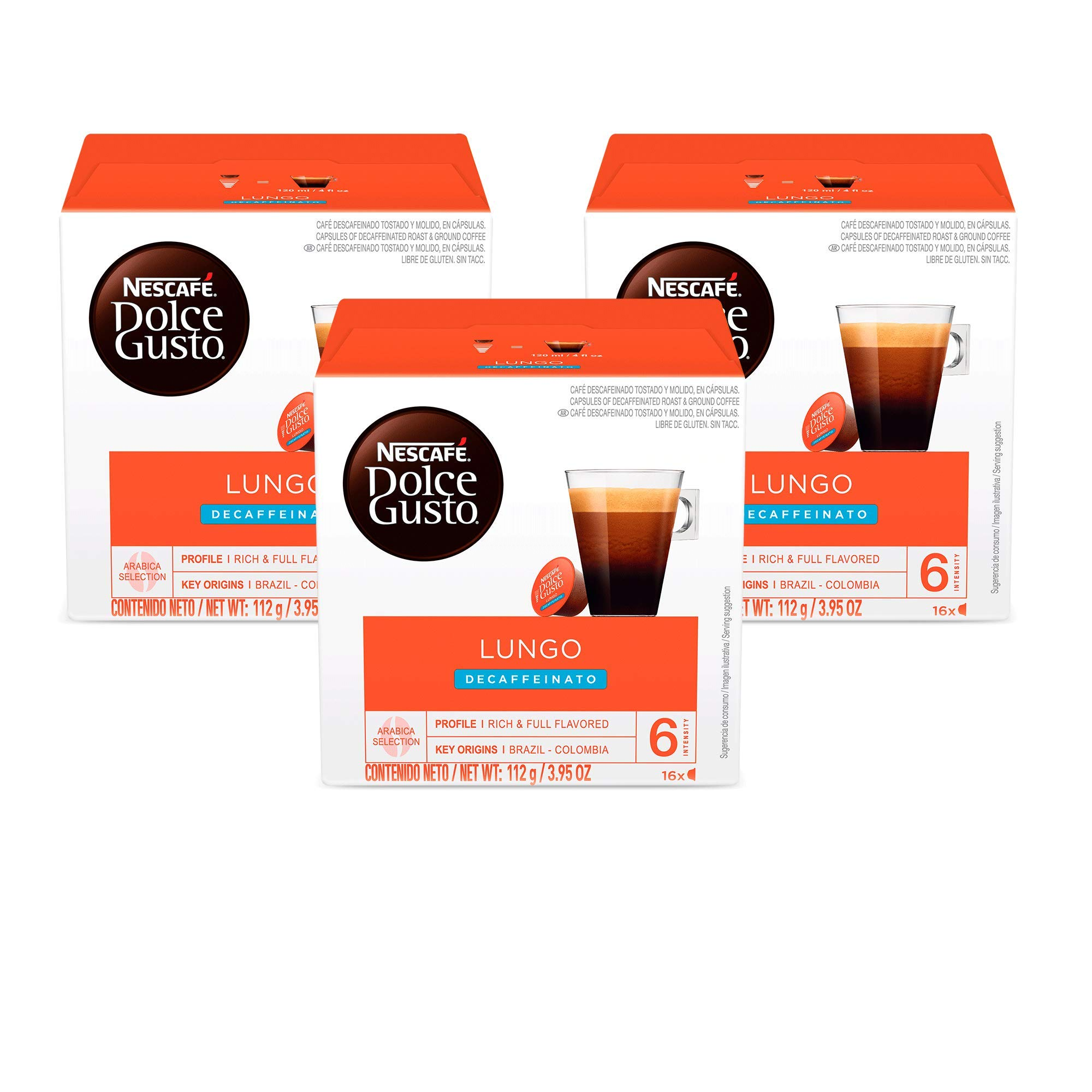 Nescafe Dolce Gusto Coffee Pods, Lungo Decaffeinato, 16 capsules, Pack of 3