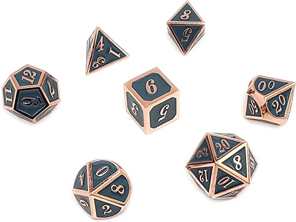 Games ALLCOLORED 10-Pieces Standard 16mm Metal DND Dice Set ...
