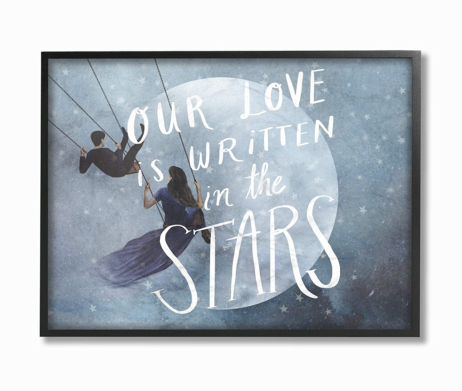 16 x 20 Multi-Color The Stupell Home D/écor Collection Blue Watercolor Written in The Stars Swinging Lovers with Full Moon Framed Giclee Texturized Art