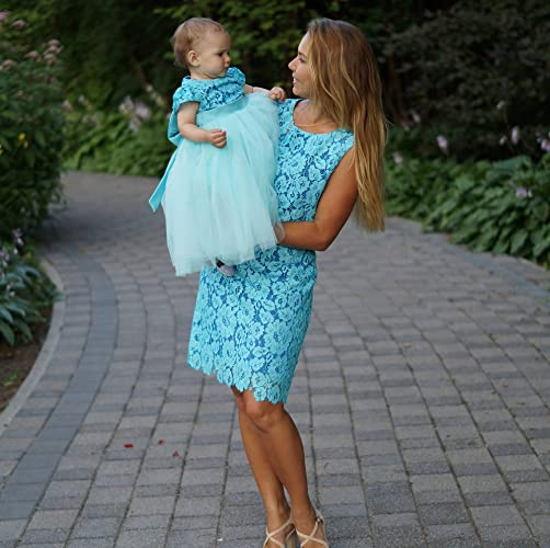 Amazon Teal Mother Daughter Matching Tutu Lace Dress Mini Dresses For Mom And Baby Girls Party Mommy Me Birthday Tight
