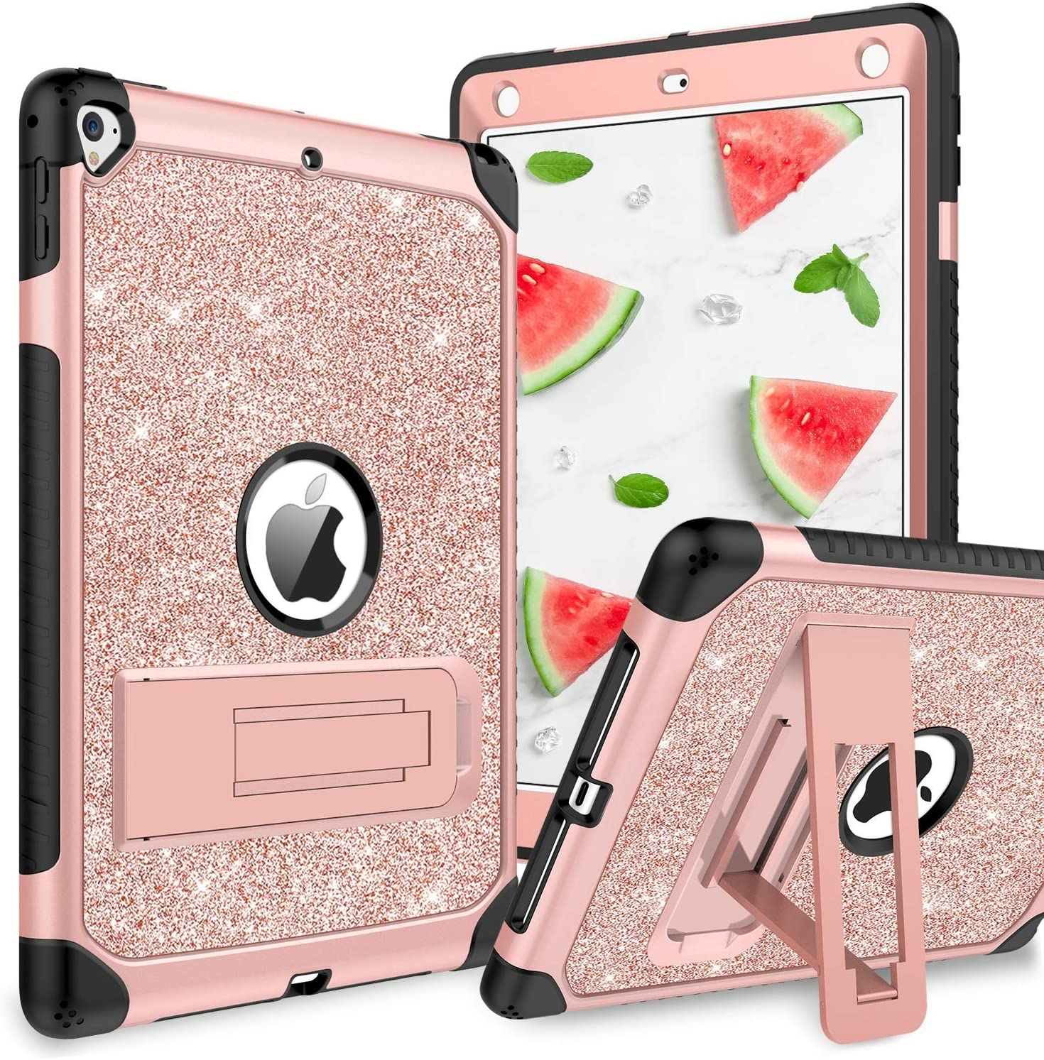 YINLAI Case for iPad Air 2/iPad 9.7 2017/2018/Pro 9.7, iPad 5th/6th Generation Case, Glitter 3 Layer Full Body Protective Kickstand Durable Rugged Shockproof Girls Women Kids Tablet Cover, Rose Gold