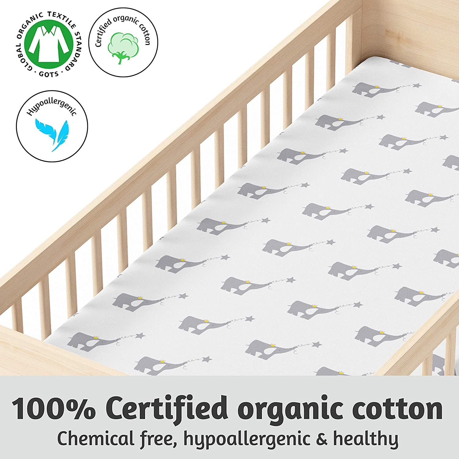 Crib Sheets 100 Certified Organic Jersey Cotton Fitted Crib Sheets For Standard Crib And Toddler Mattresses 2 Pack Super Soft Bed Sheets Unisex Gray Nursery Bedding For Baby Boy Or
