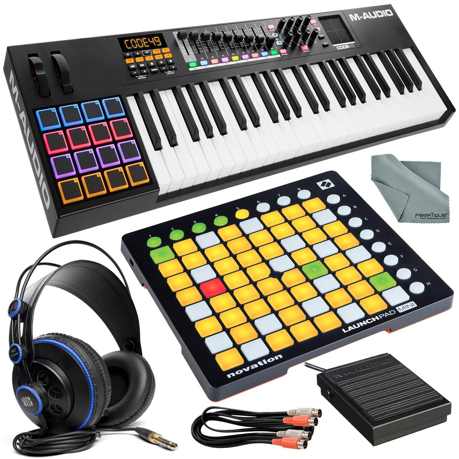 M-Audio Code 49 49-Key USB-MIDI Keyboard Controller with X/Y Touch Pad and Ableton Live Control Platinum Bundle w/Novation Launchpad MKII + PreSonus HD7 Headphones + More by Photo Savings