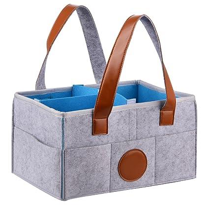 Lulalula - Cubo organizador grande para pañales de bebé con compartimentos intercambiables para pañales, toallitas