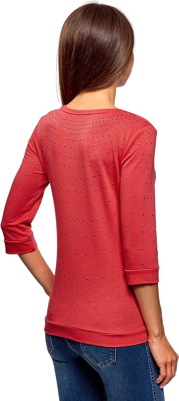 oodji Ultra Womens 3//4 Sleeve Pullover with Metallic Rhinestones