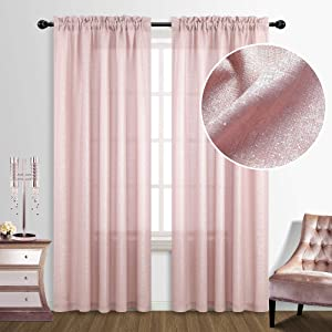 Teen Girl Bedroom Decor Glow in The Light Glitter Rose Gold Curtains for Girls Room Decorations Pink and Silver 52 x 95 Inches Long