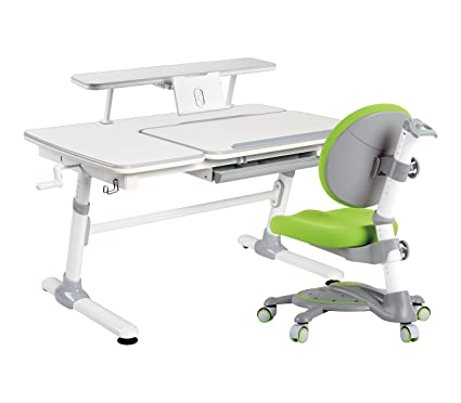 kidomate ergonomic study table with chair for all ages grey