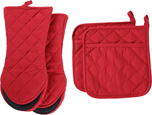 with Heat Resistance and Recycled Cotton Infill Non-Slip Cooking Gloves for Baking Cooking BBQ Nander Water Wolf Oven Mitts and Potholders Set