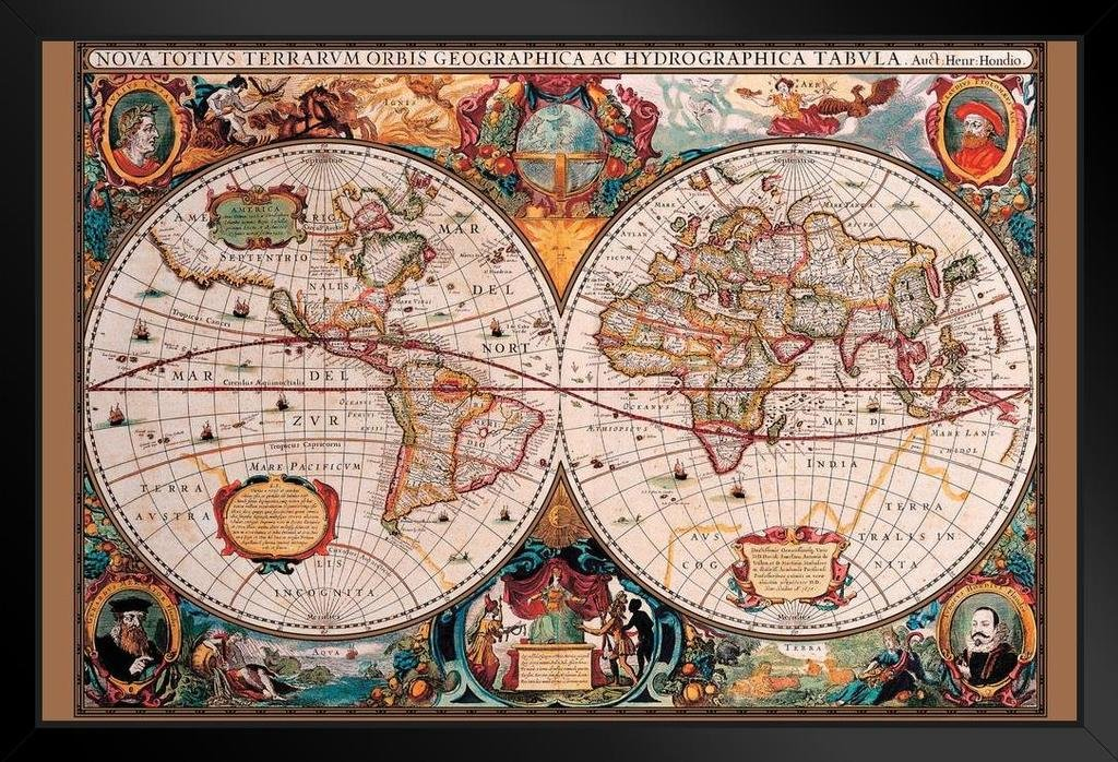 Pyramid America World Map 17th Century Framed Poster 20x14 inch by Pyramid America