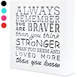 Kauza Always Remember You Are Braver Than You Think 5,5 x 5,5in by …- Inspirational gifts,Wood Wall Art & Positive Plaque, Great Gift for Mom, Sister or Grandma on the Mother Day,Birthday & etc. (s0)
