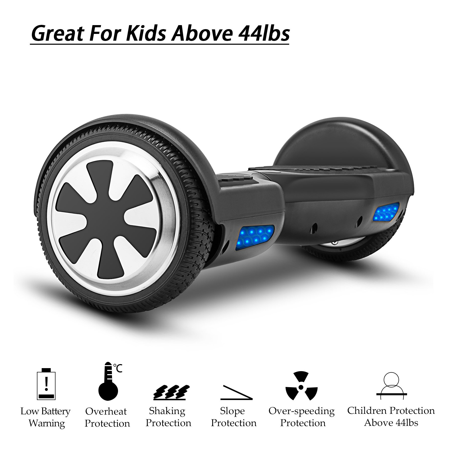 VEEKO Self Balancing Scooter Black Hoverboard with LED Indicator Lights, 350W Dual Motor, UL 2272/2271 Certificate, Alloy Durable Wheels by VEEKO (Image #1)