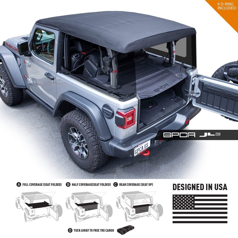 GPCA Cargo Cover LITE Jeep Wrangler JL 2DR Sports/Sahara/Freedom/Rubicon Unlimited 2018-2019 Model (JL 2Dr. Hardtop)