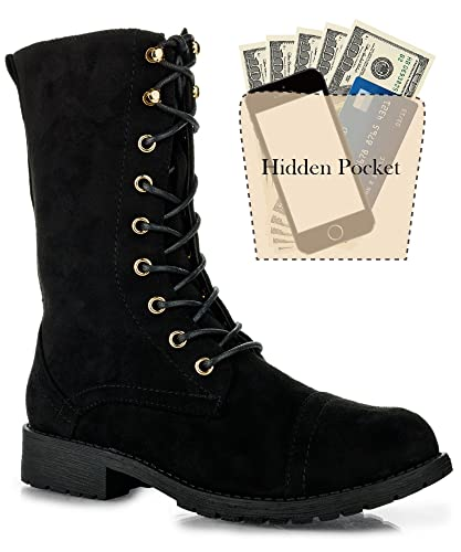 Women's Ankle Lace Up Combat Boots  Mid Calf Military Motorcycle Booties  Hidden Credit Card Pockets