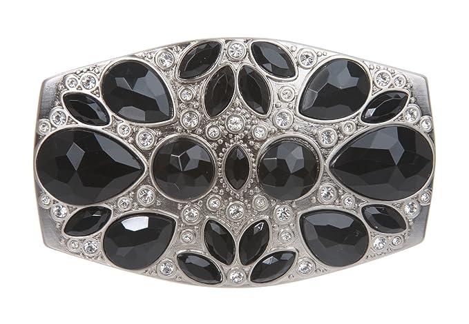 Ladies Oval Rhinestone and Imitation Black Diamond Belt Buckle