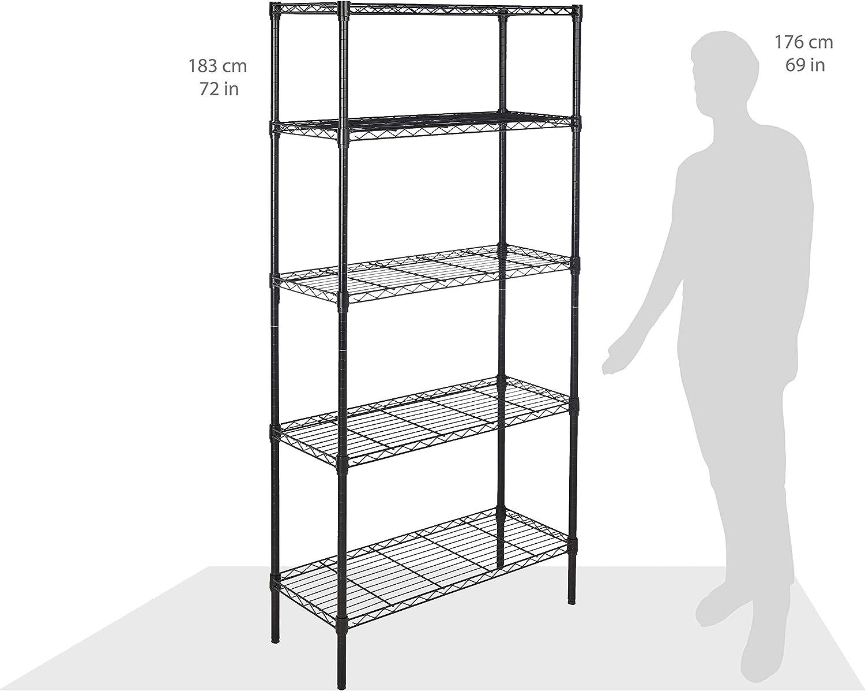 Metal Organizer Wire Rack Basics 4-Shelf Shelving Storage Unit Black