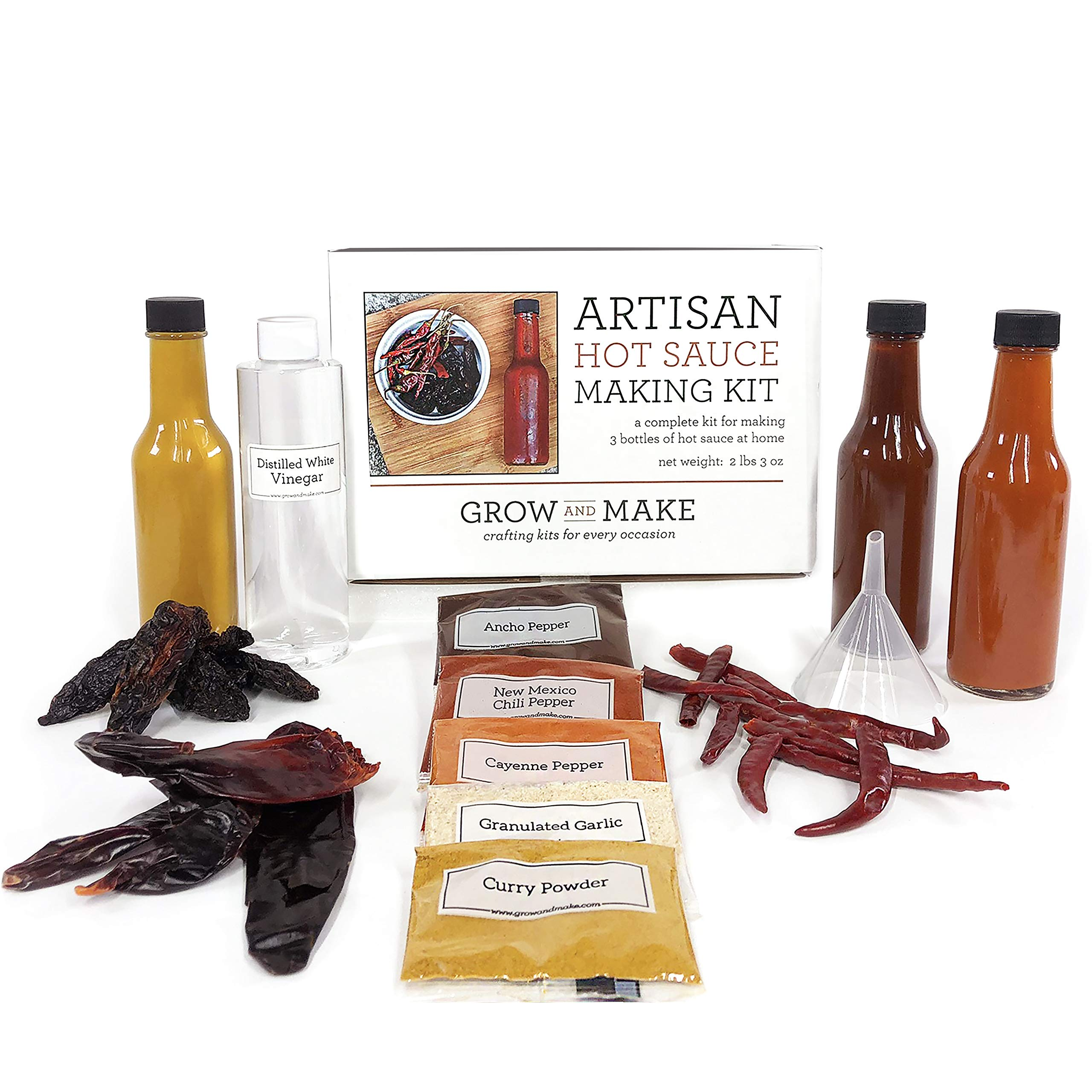 DIY Artisan Hot Sauce Making Kit - Cook Up 3 Easy Spicy Sauces at Home with this Gift Box of Quality Chipotle, Guajillo, and Arbol Peppers!