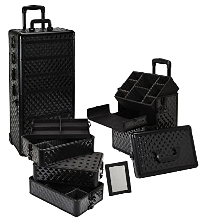 Amazon.com : Seya 4 in 1 Rolling Makeup Case w/ Removable Tiers and Adjustable Dividers (All Black Diamond) : Makeup Train Cases : Beauty