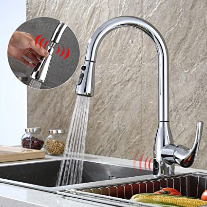 Kitchen Faucet Touchless With Pull Down Sprayer Sensor And Deck Plate  Chrome One Handle High