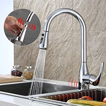 Kitchen Faucet Touchless with Pull Down Sprayer Sensor and Deck ...