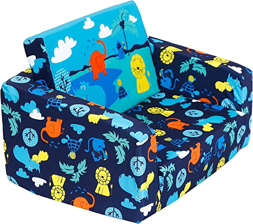 MallBest Kids Sofas Children\'s Sofa Bed Baby\'s Upholstered Couch Sleepover  Chair Flipout Open Recliner (Blue/Jungle)