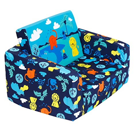 MallBest Kids Sofas Childrens Sofa Bed Babys Upholstered Couch Sleepover Chair Flipout Open Recliner (Blue/Jungle)