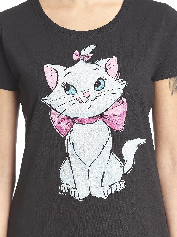 Disney Maglietta da Donna Aristocats Marie Pure Cutie Loose Fit Cotton Black