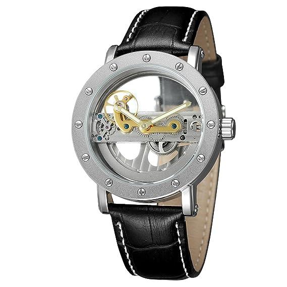 Forsining pulsera piel auténtica estilo popular diseño de moda único de los hombres automático para hombre reloj de esqueleto: Amazon.es: Relojes