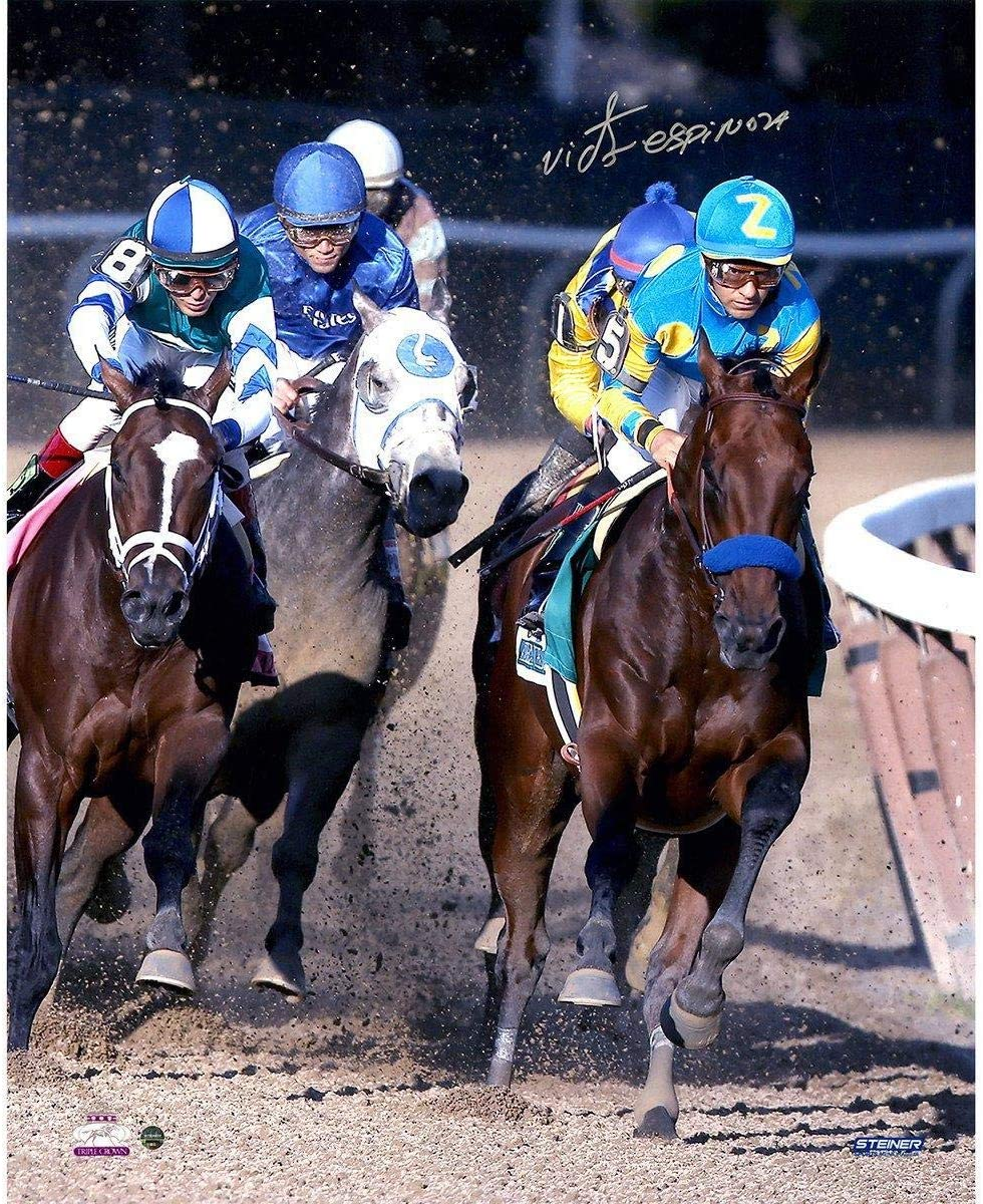 Autographed Horse Racing Photos Victor Espinoza Signed American Pharoah Ahead Of The Pack 2015 Belmont Stakes 16x20 Photo