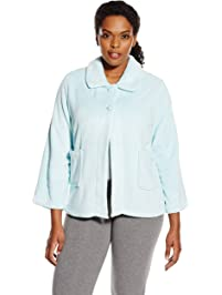a944cff112 Casual Moments Women s Plus Size Bed Jacket-Peter Pan Collar Robe