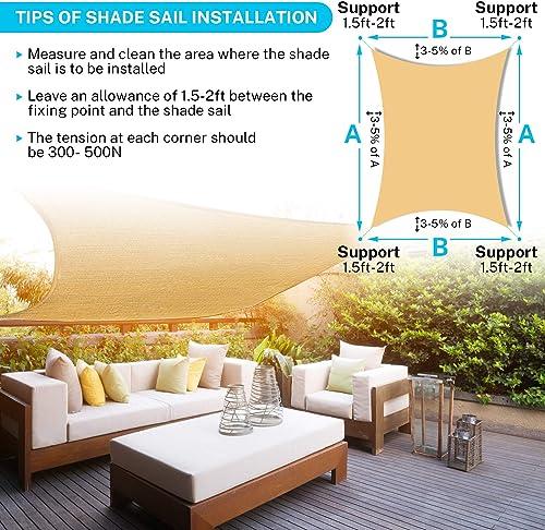 Sunkorto 10 x 13 Rectangle Sun Sail Shade, UV Block Sun Shade Sail with PE Rope for Outdoor Patio, Backyard, Garden, Cream