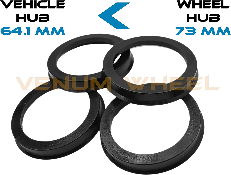 4pc Aluminum Hubrings 56.1mm Car Hub to 73mm Wheel Bore ID 56.1 OD 73