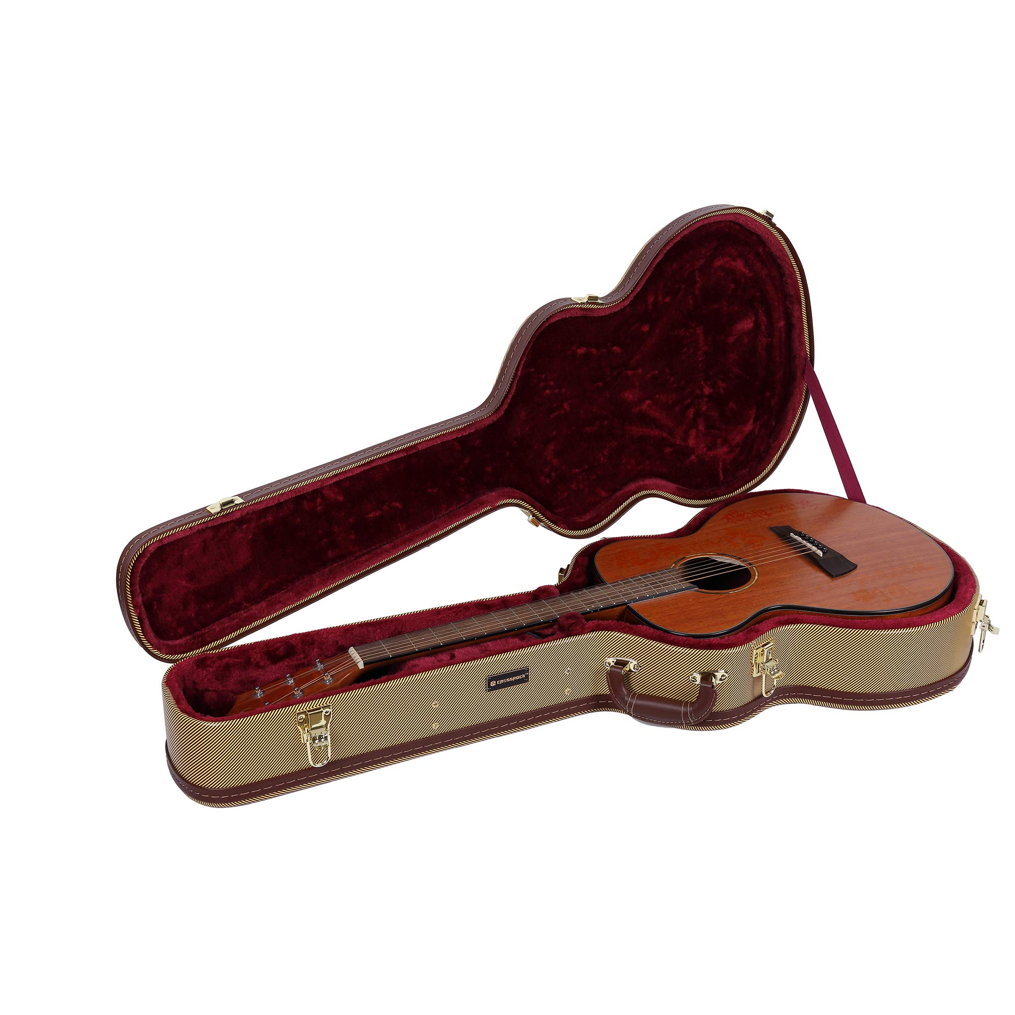 Crossrock Deluxe Wood Hard Case for OM/000 Guitar Case, Compatible to 4/4 Classical Guitar, Tweed(CRW600OMTW)