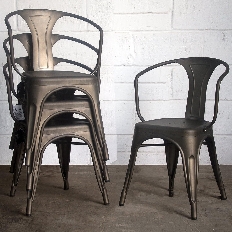 Marko Furniture Set of 4 Metal Industrial Dining Chair Kitchen Bistro Cafe Vintage Rustic Tolix Style Seating (Gun Metal Grey)