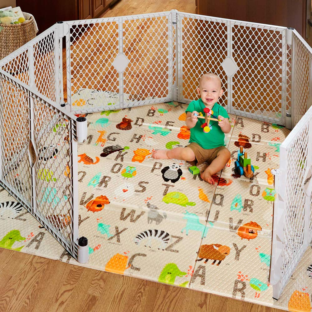 North States 71 x 71 Folding ABC Play Mat – Extra large, designed to fit 6-panel or 8-panel Superyards. Foldable. Almost 36 square feet of play space ABC multicolored