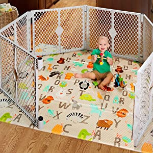 """North States 71"""" x 71"""" Folding ABC Play Mat - Extra large, designed to fit 6-panel or 8-panel Superyards. Foldable. Almost 36 square feet of play space (ABC multicolored)"""