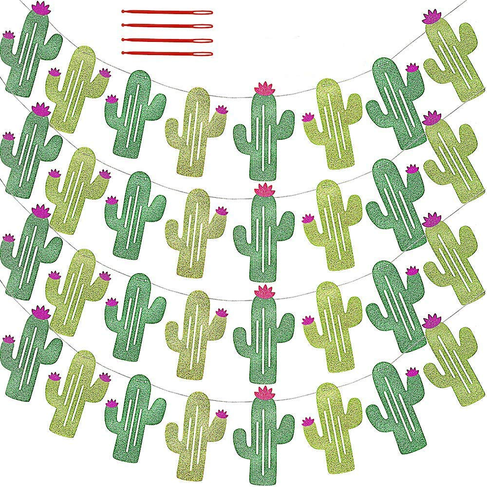 32 Pcs/31.2' (4 Pack) Fiesta Bachelorette Graduation Party Cactus Banner Garland Backgound String Cactus Glitter Green for Kids Birthday Summer Tropical Wedding Taco Cinco De Mayo Party Decor Favor