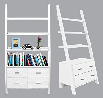 White Finished Ladder Bookshelf With Drawers