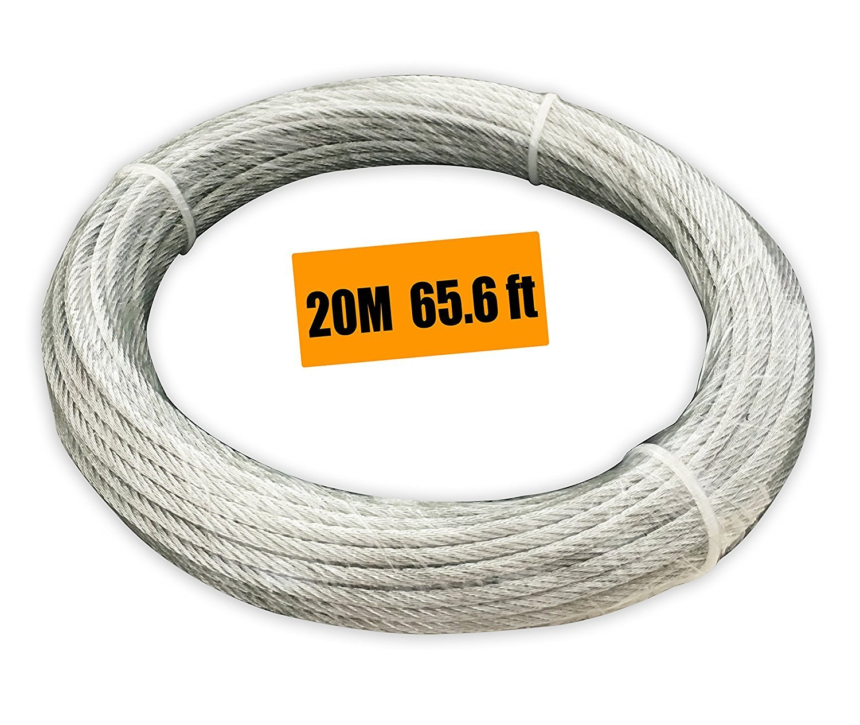 Muzata Vinyl Coated Aircraft Cable, Galvanized Wire Rope: Amazon.com ...