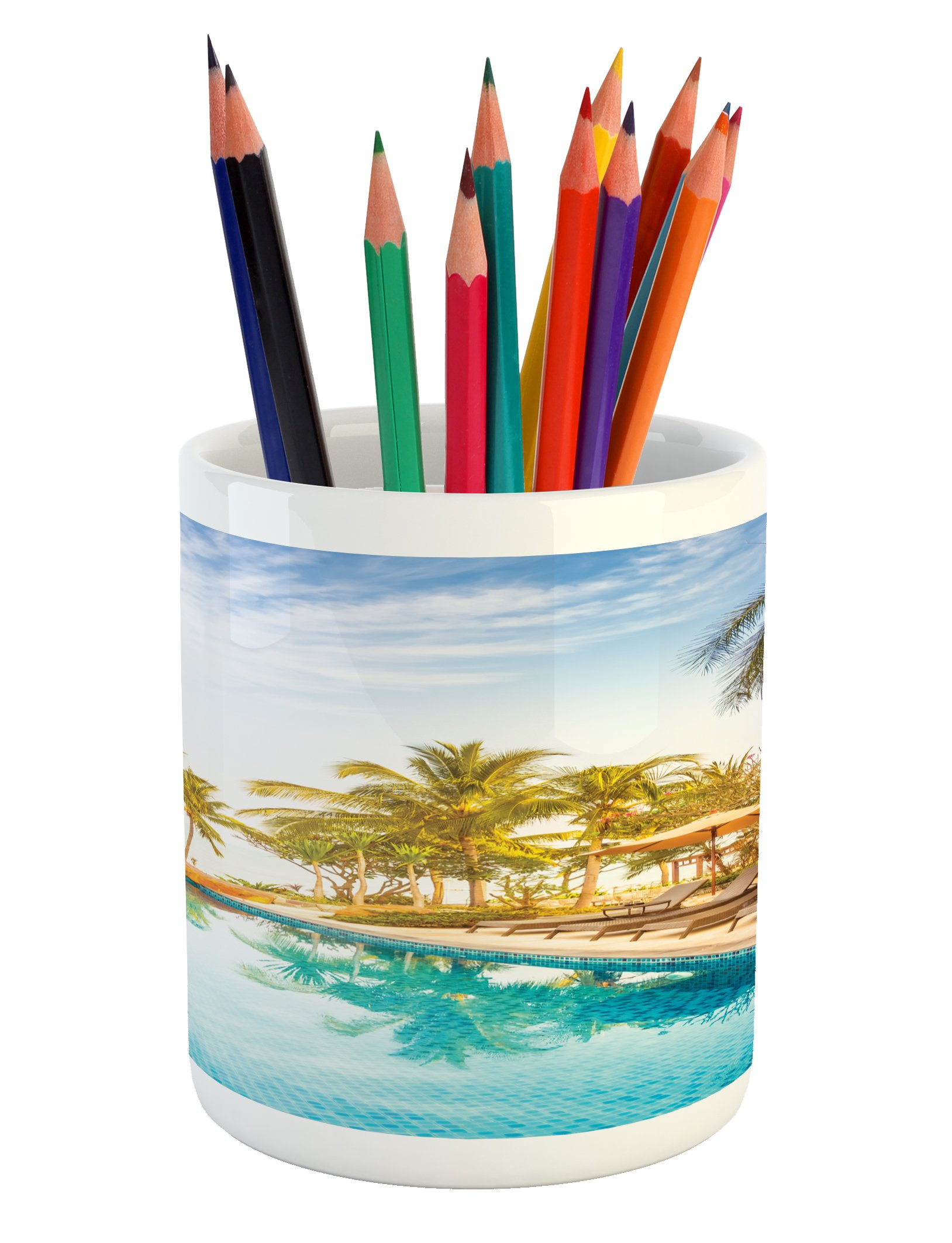 Ambesonne Landscape Pencil Pen Holder, Aerial View of A Pool in A Health Resort Spa Hotel with Exotic Sports Modern Photo, Printed Ceramic Pencil Pen Holder for Desk Office Accessory, Multi