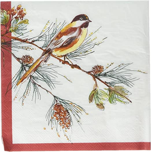 4 Lunch Paper Napkins for Decoupage Craft Vintage Napkin Two Robins Winter