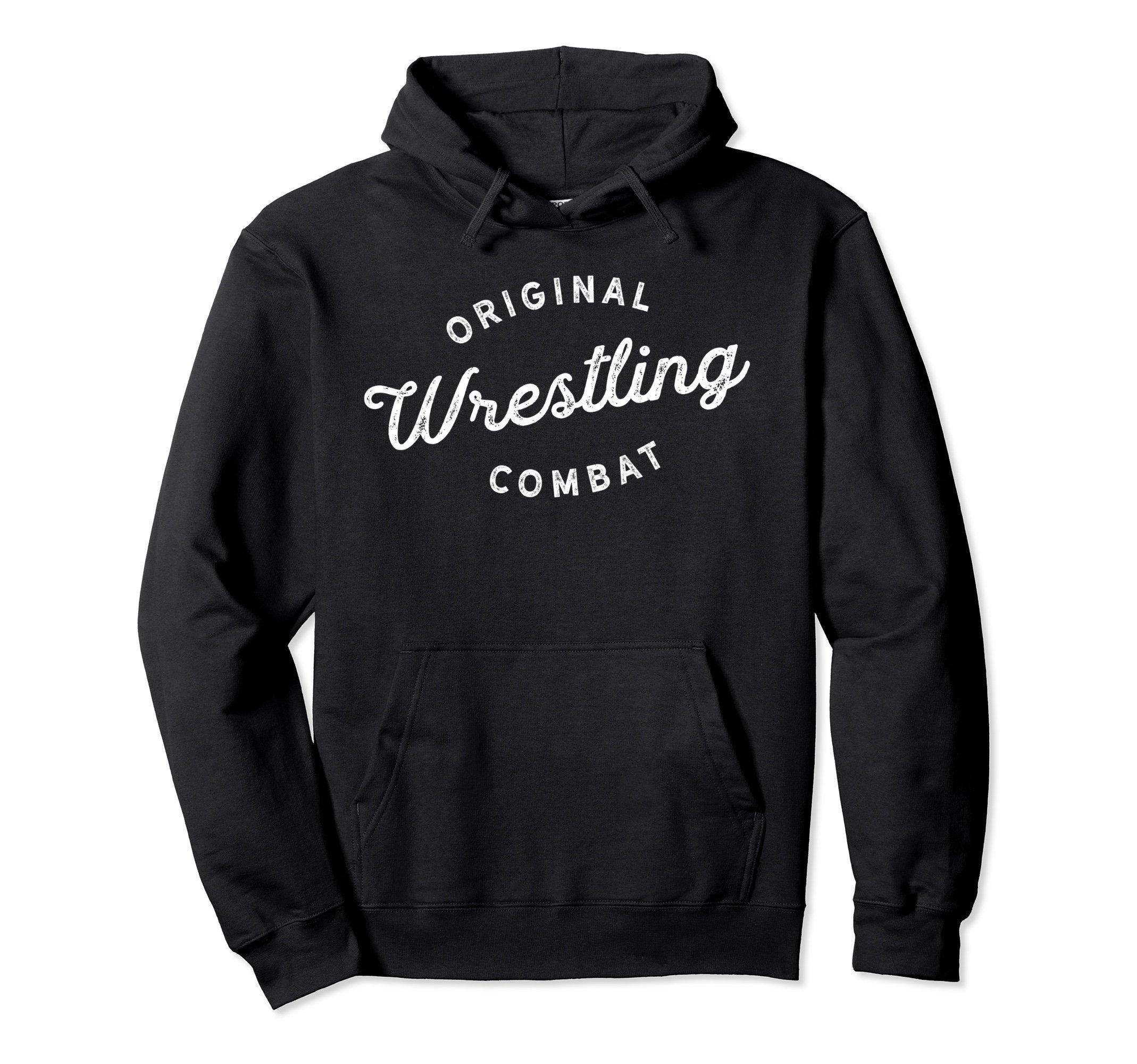 Unisex Original Combat Wrestling Hoodie for Wrestlers, Gift, White Medium Black by Wrestling Shirts and Wrestling Shoes