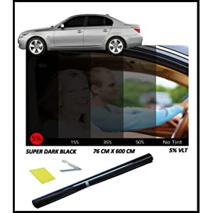 Film teinté noir très foncé pour fenêtre de voiture 5 % 76 cm x 3 m