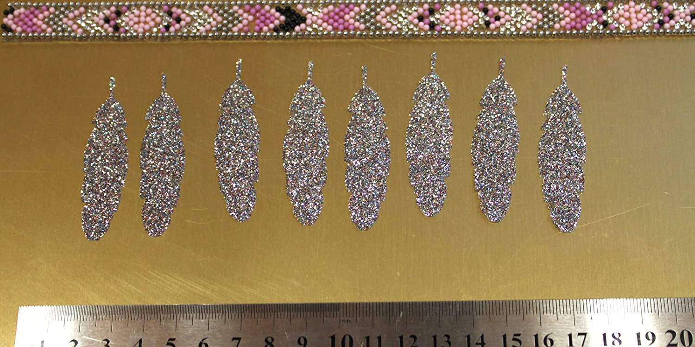 Appliqué 8 formes plume 60 x 15mm thermocollant hotfix Blanc Glitter Bling DIY SAFIRMES