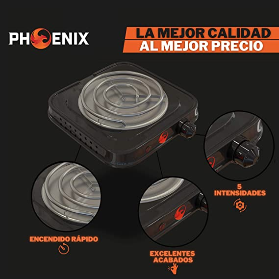 Phoenix - Hornillo Cachimba Electrico Shisha con rejilla para Carbones Barbacoa - Cocina Electrica Portatil para Camping o Encendedor Carbones Hookah ...